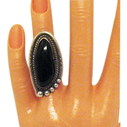 Huge Vintage Hand Wrought Sterling Silver Signed Black Onyx Ring