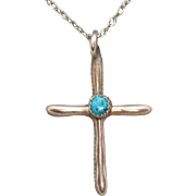 Old Vintage Sterling Turquoise Hand Crafted Cross Pendant Necklace