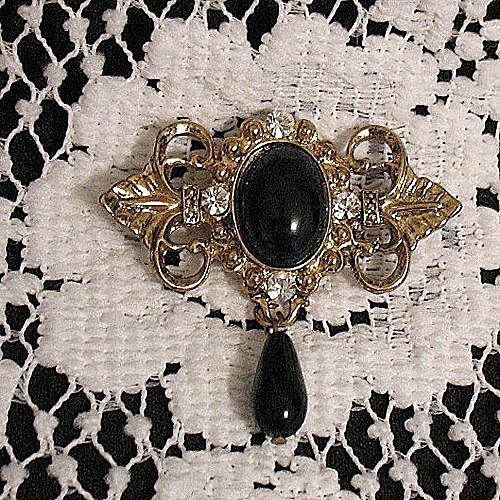 50% Off~Beautiful Victorian Revival Brooch Black Glass Tear Drop Floral Rhinestones