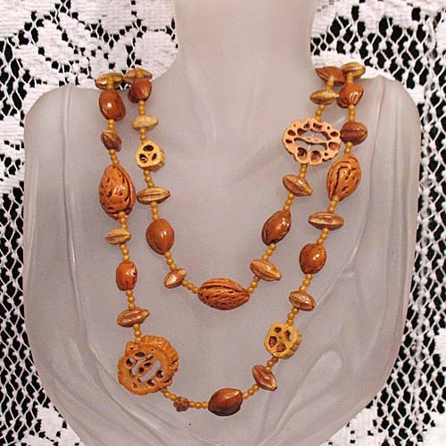 50% Off~Very Unusual Naturalistic Vintage Necklace Walnut Shells~Peach  Apricot Pit Beaded