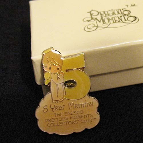 Vintage Mint 1984 Precious Moments 5 Year Member Club Enameled Pin~Original Box