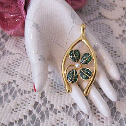 50% Off~Wishbone & Enameled Good Luck Clover Brooch Signed JJ