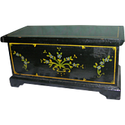 HTF Vintage Black Lacquered Wooded Blanket Chest
