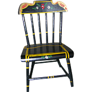 HTF Vintage Black Lacquered Wood Doll Chair!