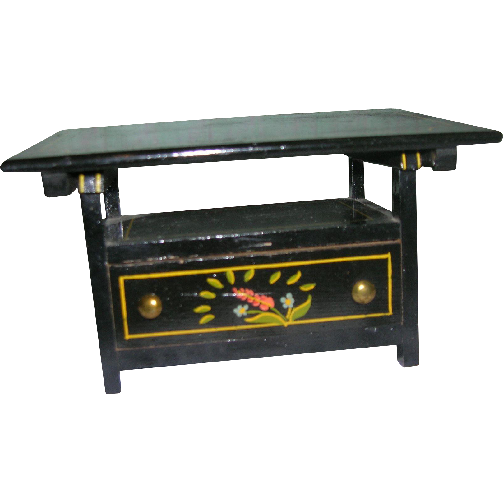 Rare Vintage Black Lacquered Wood Bench Table From