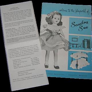 Rare Large Size Vintage Original Sandra Sue Booklet & Box Insert!