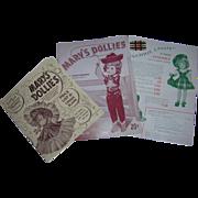 Trio of Vintage 1950's Original Mary Hoyer Booklet, Price List & Insert!