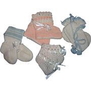 Vintage Lot of 4 Pairs Dolly Booties