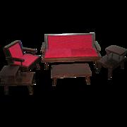 Vintage 1950's Hall's Wooden Living Room Furniture Set