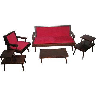 Vintage 1950's Hall's Wooden Living Room Furniture Set
