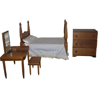 Vintage 1965 Hall's Wooden Bedroom Furniture Set