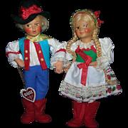 A Pair of Vintage Ethic Austrian Baitz Dolls All Original