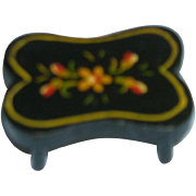 HTF Vintage Black Lacquered Wood Doll Foot Stool