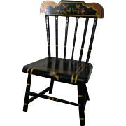 HTF Vintage Black Lacquered Wood Doll Chair