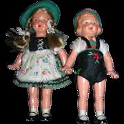 Vintage All Original German Pair of Dolls