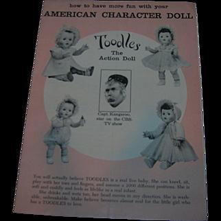 Vintage Original American Character Doll Booklet!