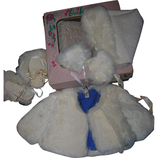 Vintage Boxed Original Terri Lee Tagged Complete Fur Coat Set