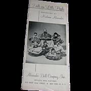 """Vintage Original Madame Alexander """"Dolls Are Little People"""" Booklet"""