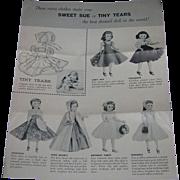 Vintage Original American Character Sweet Sue & Tiny Tears Paper