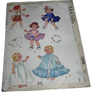 "McCall's Vintage  Doll Pattern #1898 for 8"" Dolls Complete"
