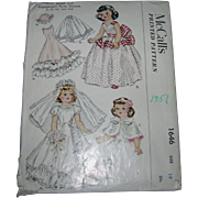 "McCall's Vintage 1951 Toni Doll Pattern for 19"" Dolls #1646"