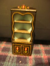 HTF Vintage Black Lacquered Wood Doll Corner Cupboard!