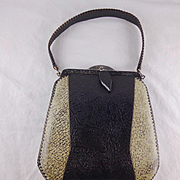 Vintage Black and White Tooled Leather Purse