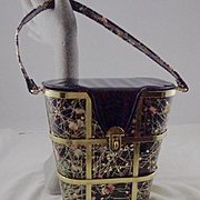 Vintage Floral Print Basket with Gold Tone Metal Straps Purse