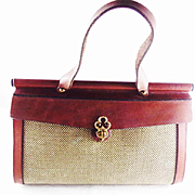 Vintage  Leather Canvas Purse by John Romain