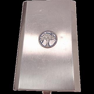 Vintage Cara Nome Langlois Silvertone Metal Triple Vanity Compact