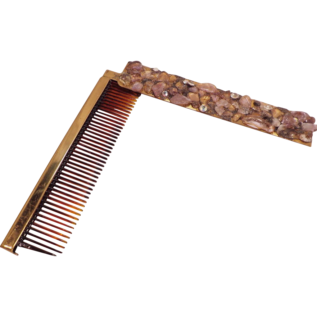Vintage Gold Tone Pull Out  Comb in a Jewel Stone Cover Case