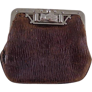 Vintage Leather Coin Purse With Unique Clasp