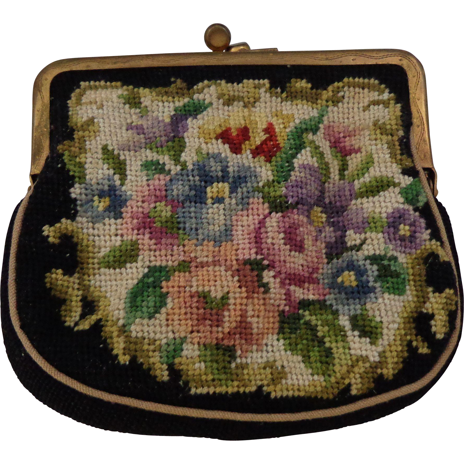 Vintage Petite Point Coin Purse