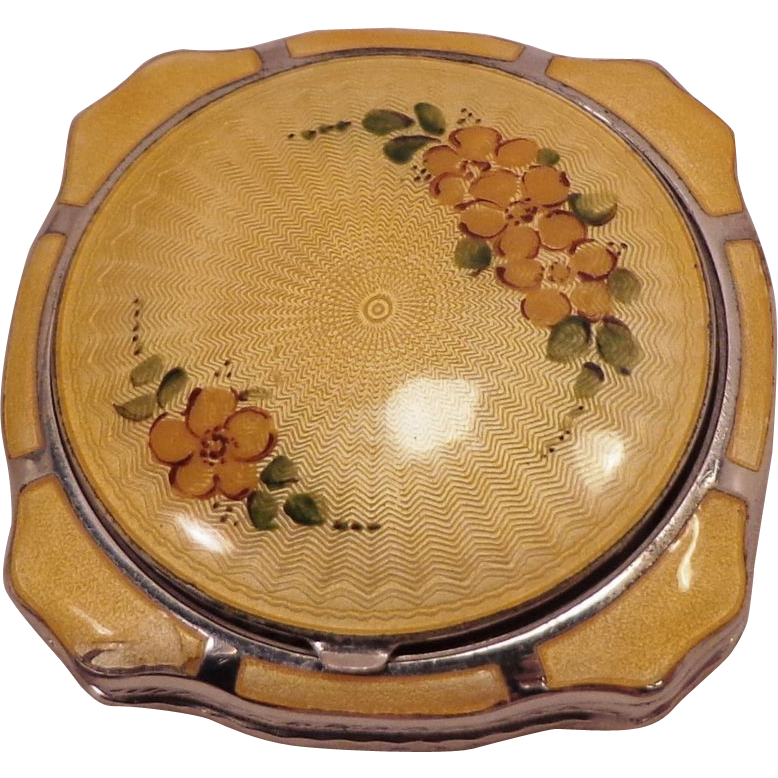 Vintage Yellow Guilloche' and Enamel Vanity Compact by G.L.B Co.