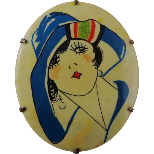 Vintage Celluloid Pin With  Art Deco Flapper