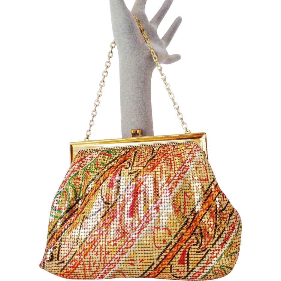 Vintage Geometric Gold Mesh Purse by Whiting and Davis