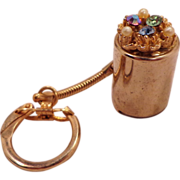 Vintage Coin Carrying Jeweled Top Key Chain