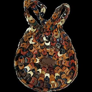 Vintage Boho Leather Link Round Purse