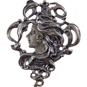 Vintage Art Deco Sterling Silver Brooch or  Pin With Woman on Front