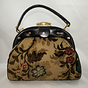 Vintage Floral  Chenille and Black Leather Purse by Tano