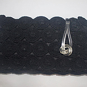 Vintage Large Black Clutch Corde Purse
