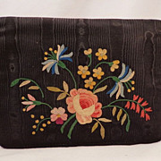 Vintage French Black Silk Moire Clutch Purse  With Floral Tambour Embroidery