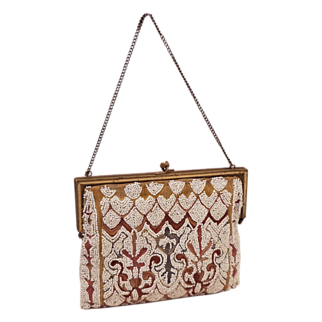 Vintage French Seed Beaded and Tambour Embroidered Purse With Enamel Color Frame
