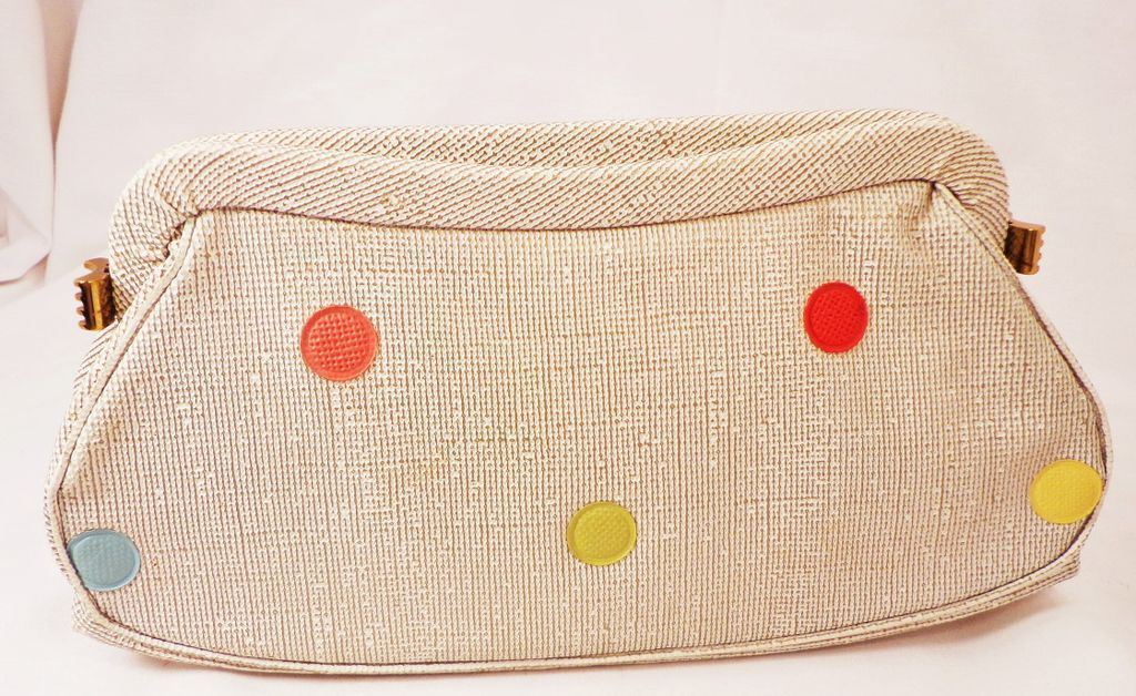 Vintage Mod Vinyl Clutch Purse With Colorful Polka Dots by Garay