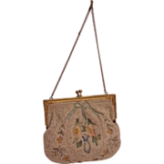 Vintage french Beaded and Tambour Embroidery Evening Purse by Metros Bag  Works