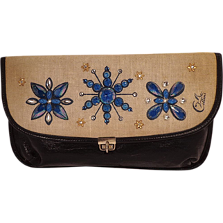 Vintage Blue Leather With Bead Flowers Clutch Purse by Collins of Texas
