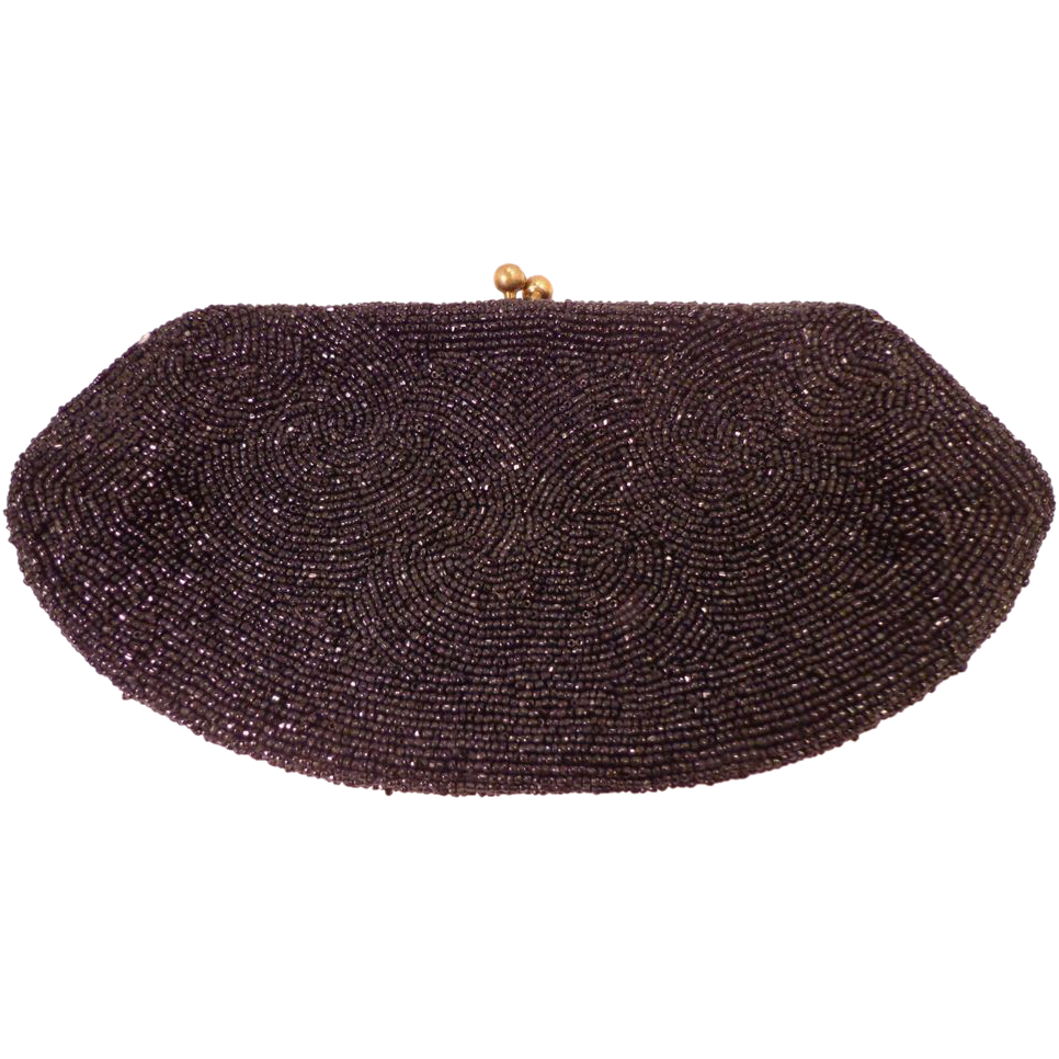 Vintage Black Beaded Clutch Purse Handmade in Belgium