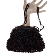 Vintage Black Sequins and Beaded Purse for Robinsons