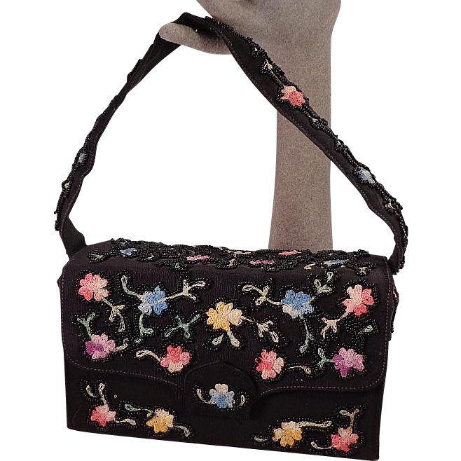 Vintage Black Purse With Floral  Embroidery and Beads by Saks Fifth Ave