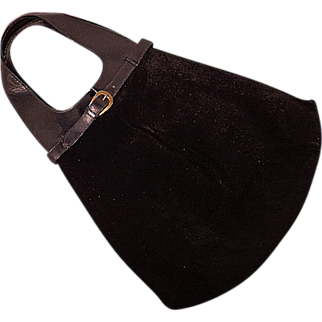 Vintage Mod Slim Black Suede and leather Purse